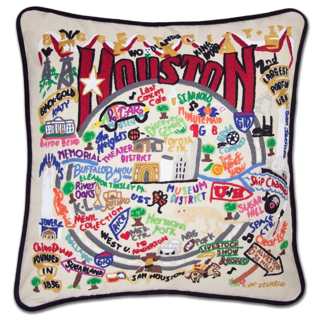 Houston Hand-Embroidered Pillow - catstudio