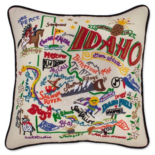 Idaho Hand-Embroidered Pillow - catstudio