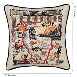 Illinois Hand-Embroidered Pillow - catstudio