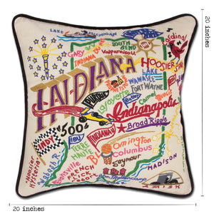 Indiana Hand-Embroidered Pillow - catstudio