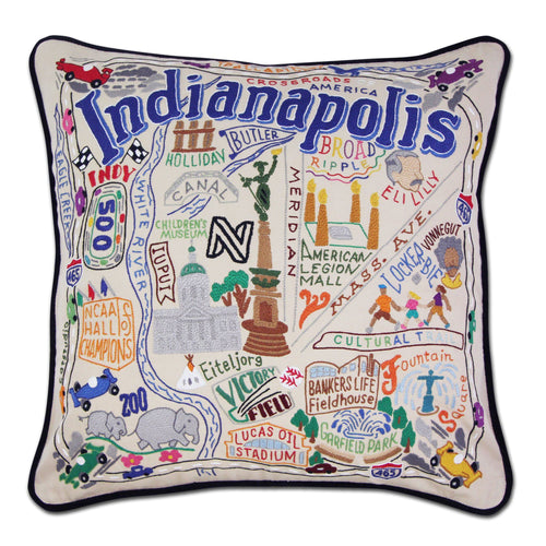 Indianapolis Hand-Embroidered Pillow Pillow catstudio