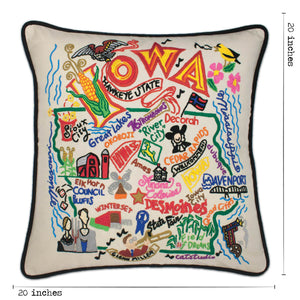 Iowa Hand-Embroidered Pillow - catstudio