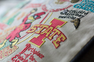Iowa State University Collegiate Embroidered Pillow - catstudio