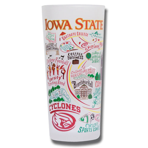 Iowa State University Collegiate Drinking Glass - catstudio