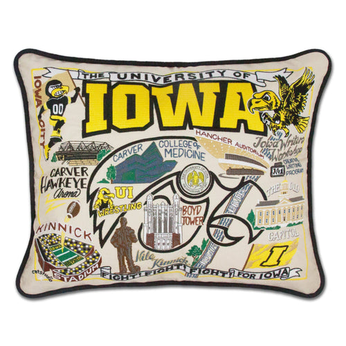Iowa, University of Collegiate Embroidered Pillow - catstudio