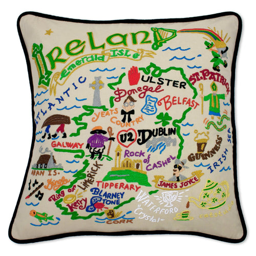 Ireland Hand-Embroidered Pillow - catstudio