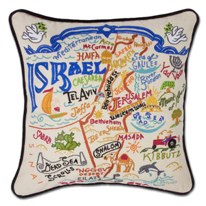 Israel Hand-Embroidered Pillow - catstudio