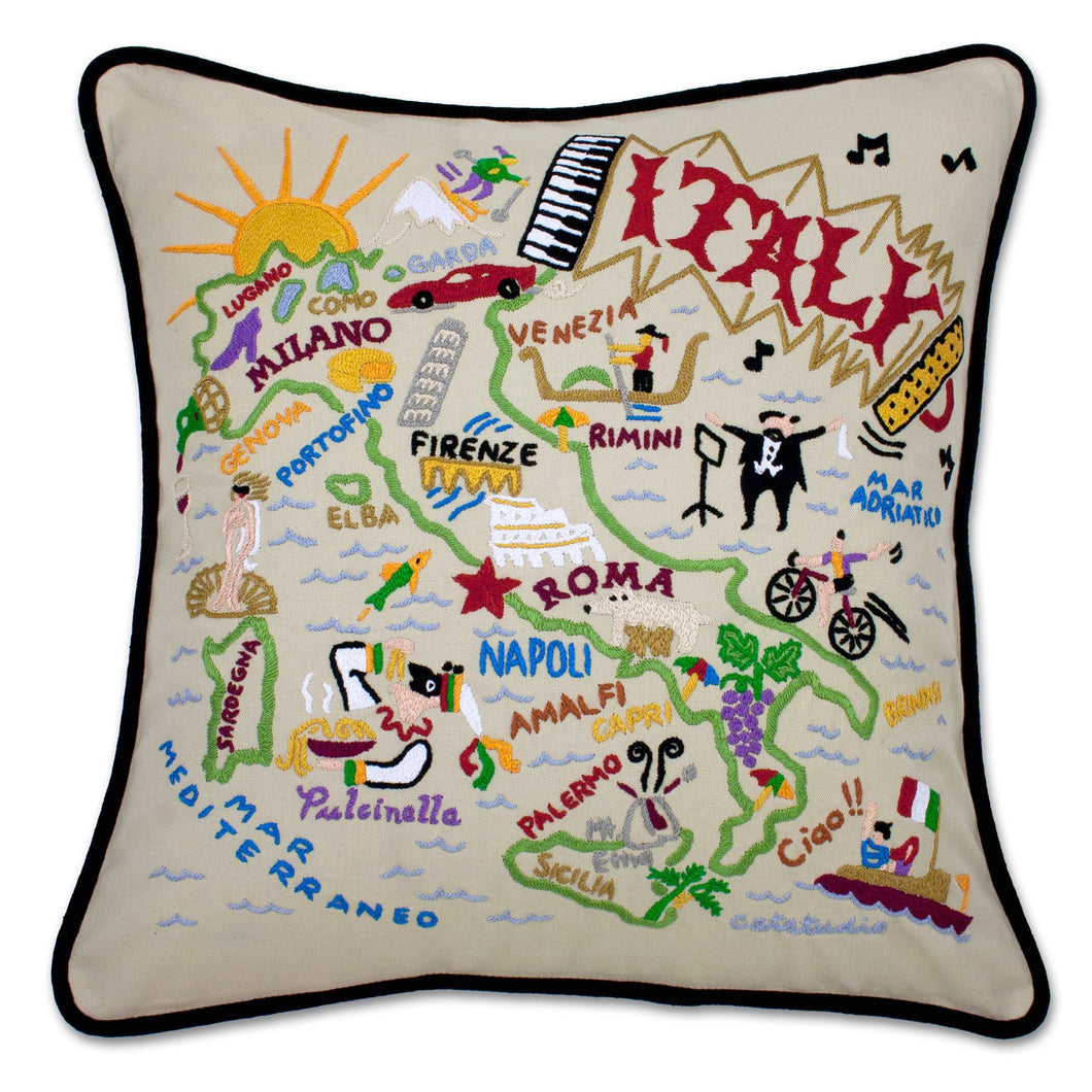 Italy XL Hand-Embroidered Pillow - catstudio
