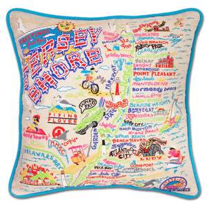 Jersey Shore Embroidered Pillow - catstudio