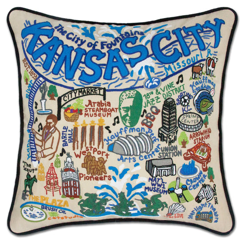 Kansas City Hand-Embroidered Pillow - catstudio