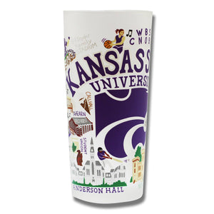 Kansas State University Collegiate Drinking Glass - catstudio
