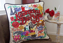 Load image into Gallery viewer, Kentucky Derby Hand-Embroidered Pillow - catstudio