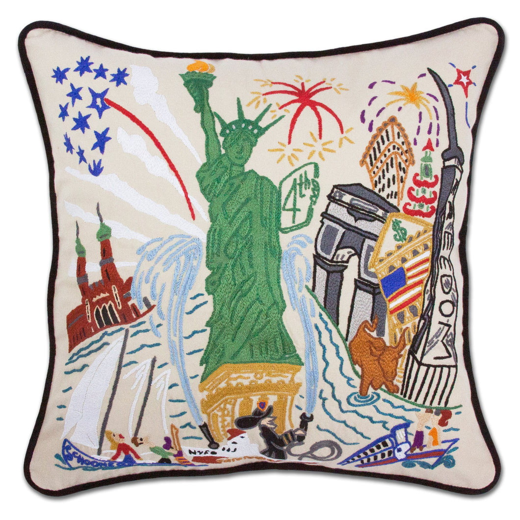 Lady Liberty Hand-Embroidered Pillow - catstudio