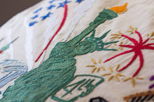 Load image into Gallery viewer, Lady Liberty XL Hand-Embroidered Pillow - catstudio