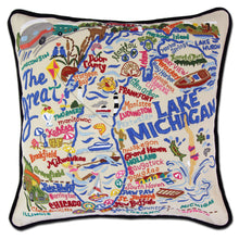Load image into Gallery viewer, Lake Michigan Hand-Embroidered Pillow - catstudio