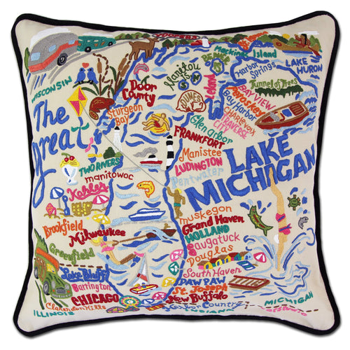 Lake Michigan Hand-Embroidered Pillow - catstudio