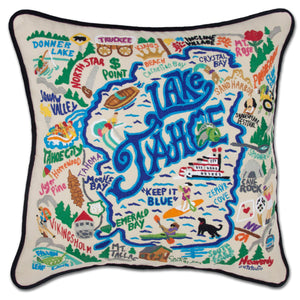 Lake Tahoe XL Hand-Embroidered Pillow - catstudio