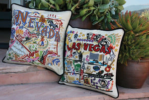 Las Vegas Hand-Embroidered Pillow - catstudio