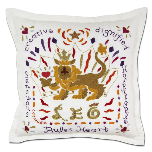 Leo Astrology Hand-Embroidered Pillow - catstudio