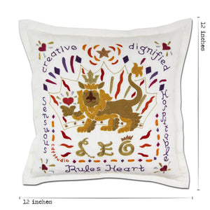 Leo Astrology Hand-Embroidered Pillow Pillow catstudio