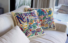 Load image into Gallery viewer, Long Island Hand-Embroidered Pillow - catstudio