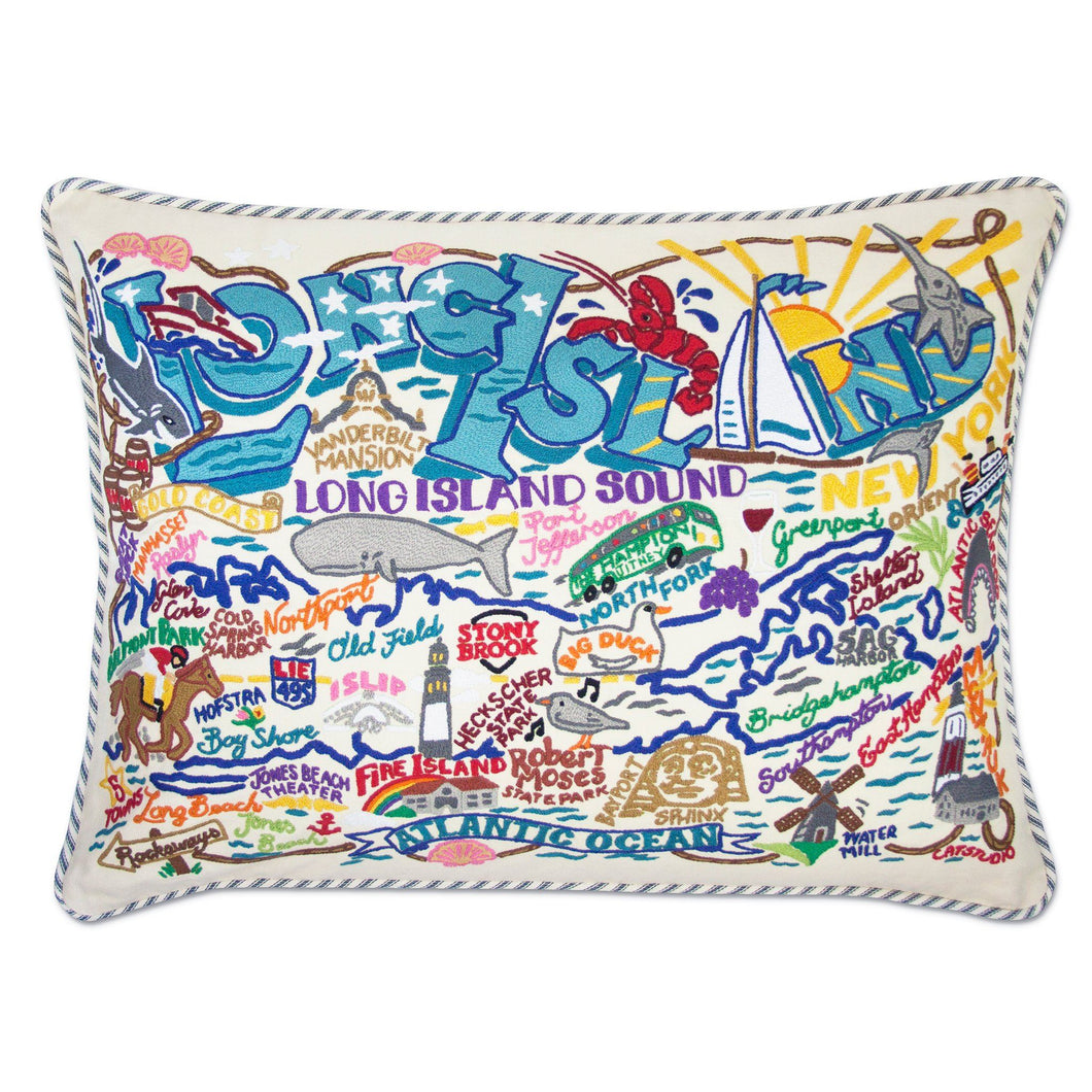 Long Island XL Hand-Embroidered Pillow - catstudio