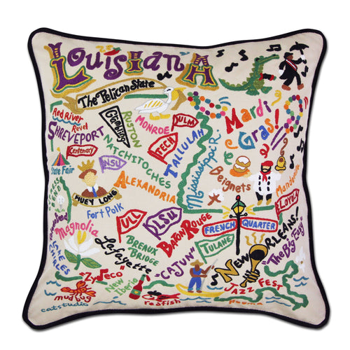 Louisiana Hand-Embroidered Pillow Pillow catstudio