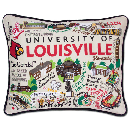 Louisville, University of Collegiate Embroidered Pillow - catstudio