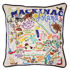 Mackinac Island Hand-Embroidered Pillow - catstudio
