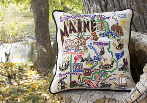 Maine Hand-Embroidered Pillow - catstudio