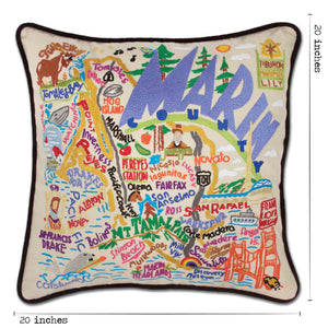 Marin County Hand-Embroidered Pillow - catstudio