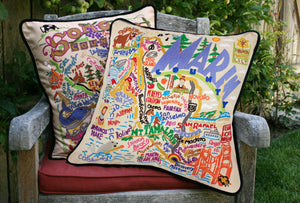 Marin County Hand-Embroidered Pillow catstudio