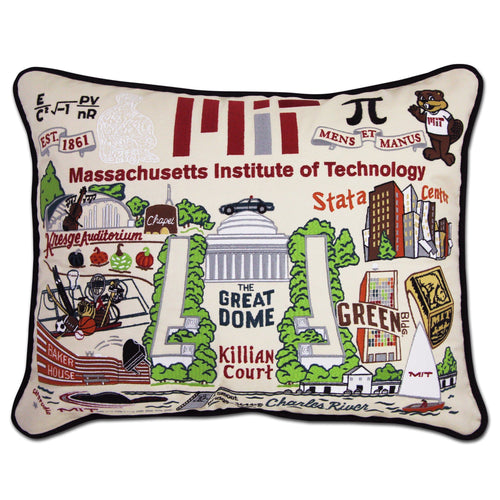 Massachusetts Institute of Technology (MIT) Collegiate Embroidered Pillow - catstudio