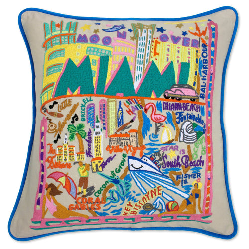 Miami Hand-Embroidered Pillow - catstudio