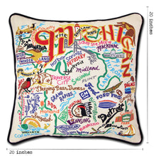 Load image into Gallery viewer, Michigan Hand-Embroidered Pillows Pillow catstudio