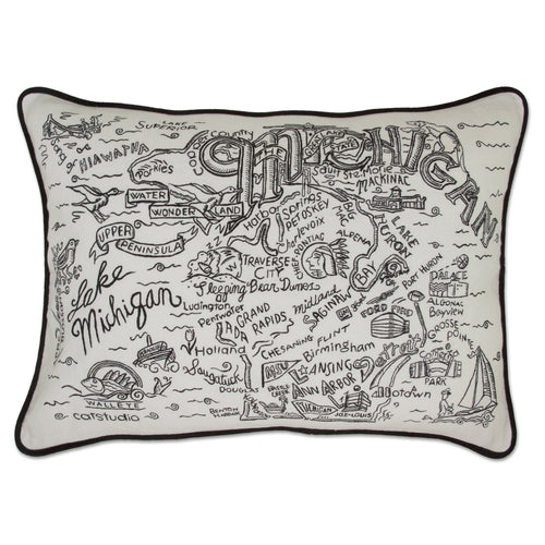 Michigan Hand-Guided Machine Pillow Pillow catstudio