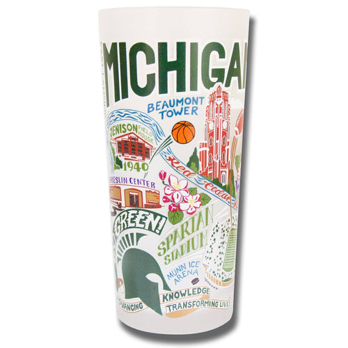 Michigan State University Collegiate Drinking Glass - catstudio