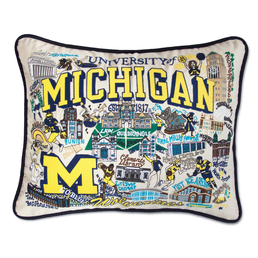Michigan, University of Collegiate Embroidered Pillow Pillow catstudio