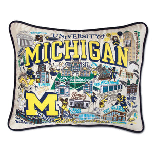 Michigan, University of Collegiate XL Hand-Embroidered Pillow - catstudio