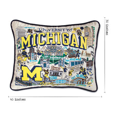 Load image into Gallery viewer, Michigan, University of Collegiate XL Hand-Embroidered Pillow - catstudio