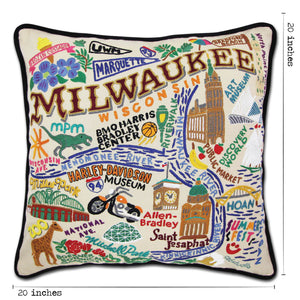 Milwaukee Hand-Embroidered Pillow Pillow catstudio