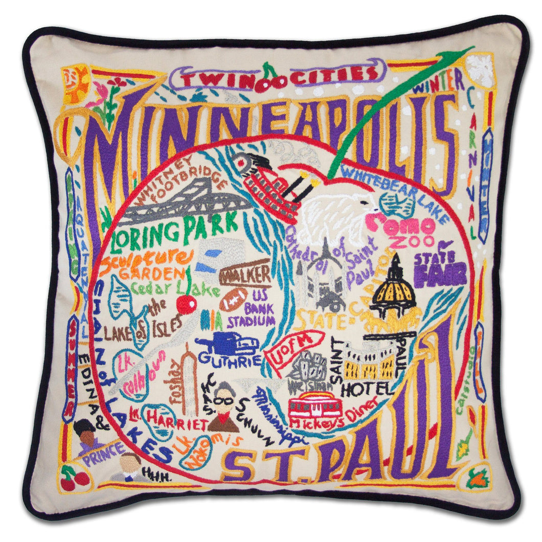 Minneapolis-St. Paul Hand-Embroidered Pillow - catstudio