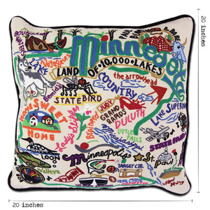 Minnesota Hand-Embroidered Pillow Pillow catstudio