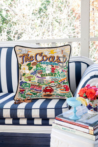 Mississippi Coast Hand-Embroidered Pillow - catstudio