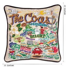 Load image into Gallery viewer, Mississippi Coast Hand-Embroidered Pillow - catstudio