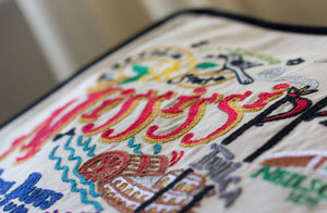 Mississippi Hand-Embroidered Pillow Pillow catstudio