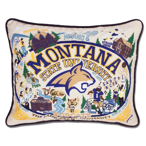 Montana State University Collegiate Embroidered Pillow - catstudio