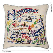 Load image into Gallery viewer, Nantucket Hand-Embroidered Pillow - catstudio