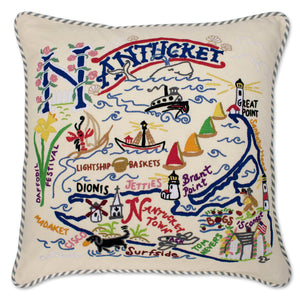 Nantucket Hand-Embroidered Pillow Pillow catstudio