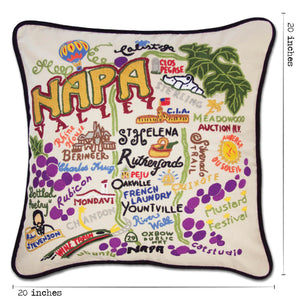 Napa Valley Hand-Embroidered Pillow - catstudio